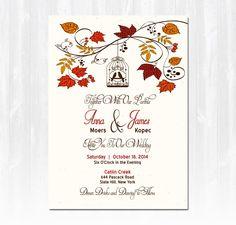 Love Birds Falling Hearts Oak Tree RSVP Meal Card Fall Wedding