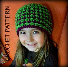 Houndstooth crochet beanie.  Crochet For Free