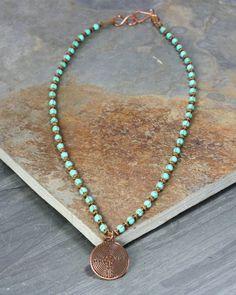 Turquoise Necklace  Macrame Jewelry  Labyrinth by FaithGiftz, $56.00
