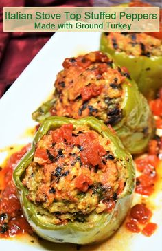 Italian Stove Top Stuffed Peppers are made with ground turkey. No oven involved! meals no oven Italian Stove Top Stuffed Peppers Turkey Recipes, Beef Recipes, Italian Recipes, Chicken Recipes, Cooking Recipes, Meatloaf Recipes, Side Recipes, Salad Recipes, Best Dinner Recipes