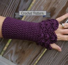 ***This is for a digital download of the crochet PATTERN only, not the finished product.****     If youd like the finished armwarmers, they are available ready-made in a variety of colors in the fingerless gloves section here:  http://www.etsy.com/shop/CandacesCloset?section_id=6460299    Made in cream, these are great accessories for the winter bride. In black, these are a perfect steampunk accessory. In any color, theyre a great fashion statement.    Level of difficulty: Intermediate…