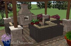 Colorful and Curvy Outdoor Living Design with Outdoor Fireplace, 12' x 16' Cedar Pergola and Seat Walls. Features 605 Square Feet | Plan No. 1143rr | Download Installation Plan at MyPatioDesign.com