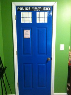 I made my daughter's door a Tardis for her birthday. :) She's a HUGE Dr. Who fan. Painted Doors, Tardis, Man Cave, Tall Cabinet Storage, To My Daughter, Fan, Birthday, House, Home Decor
