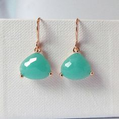 mint and gold earrings, triangle earrings , aqua blue jewelry drop, dangle by twixtdesigns. Explore more products on http://twixtdesigns.etsy.com