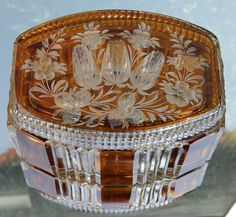 Vintage Glass : An attractive flashed glass Box with floral decoration