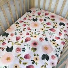 Pink floral fitted cot sheet Cot Mattress, Cot Sheets, Pastel Floral, Sewing For Kids, Pink, Baby, Home, Blush Flowers, Ad Home