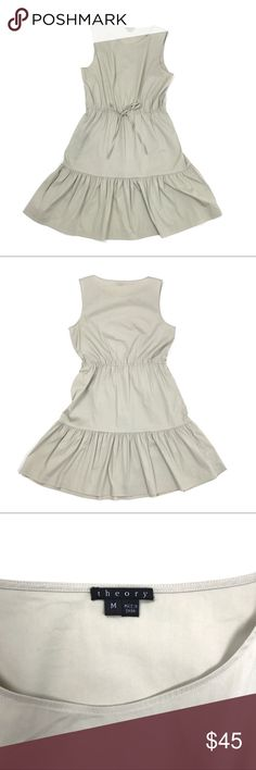 """Theory Tan Cotton Cocktail Dress Size Medium Theory Tan Sleeveless Tiered Cocktail Dress With Ties At Waist - Size Medium  Light weight breathable cotton fabric with stretch  Pit to Pit: 18""""  Waist: 14""""  Length: 36""""  Condition: Excellent preowned condition. Theory Dresses Midi"""