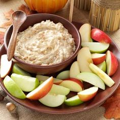 "Apple Brickle Dip    ""I first tasted this quick and easy dip at a friend's Christmas party,"" recalls Karen Wydrinski of Woodstock, Georgia. ""I kept going back for more."""