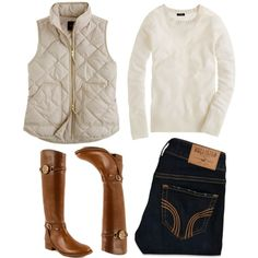 A fashion look from November 2012 featuring J.Crew sweaters, J.Crew vests and Hollister Co. jeans. Browse and shop related looks.