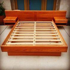 SOLD - Mid Century Danish Modern Queen Teak Platform Bed with Floating Nightstands by Jesper Denmark: