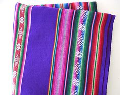 South American Fabric, Aguayo, Woven Textile, Purple Stripes