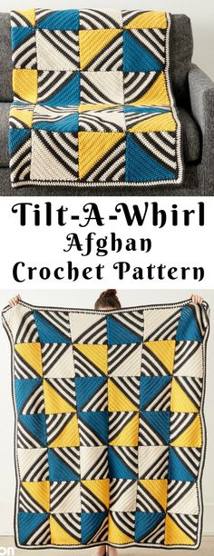 Quick And Easy Crochet Blanket Patterns For Beginners: Tilt-A-Whirl Afghan Free Crochet Pattern. Easy Crochet Blanket, Crochet Quilt, Crochet Squares, Granny Squares, Crochet Granny, Crochet Crafts, Crochet Yarn, Crochet Hooks, Crochet Projects