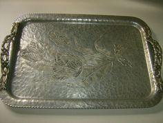 pounded aluminum | Rodney Kent Hammered Aluminum Tulip Tray from marysmenagerie on Ruby ...