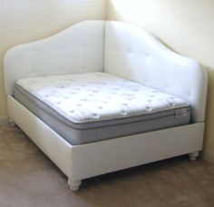 """this would be great for our newly finished """"guest room"""" My next project. I have a full sized futon I can build around for my daughters room and a queen guest bed/laundry sorting station I can revive into a lounging space. Futon Diy, Futon Bedroom, Bed Room, Bed In Corner, Corner Chair, Upholstered Daybed, Padded Headboards, Daughters Room, Guest Bed"""