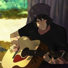 Keith playing guitar by the tree from Voltron Legendary Defender