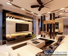 Gallery of Sky Box House / Garg Architects - 9 - Salvabrani Living Room Partition, Room Partition Designs, Ceiling Design Living Room, Tv Cabinet Design, Tv Wall Design, Hall Interior, Interior Design Living Room, Modern Tv Wall Units, Living Room Tv Unit Designs