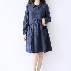 blue floral autumn dress double layer cotton dress by ideacloth, $65.90