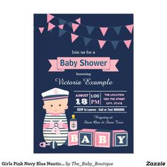 Girls Pink Navy Blue Nautical Baby Shower Card