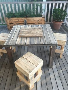 Pallet Table and chairs, All recycled timber from pallets.