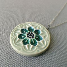 Inspiration for jewellery making-wildflower necklace sage and peacock ... porcelain by sofiamasri
