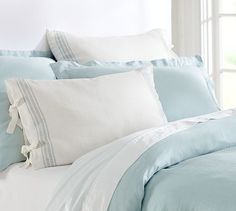 Dress your bed with blue bedding from Pottery Barn. Find baby blue, navy and sapphire duvets, sheets and pillowcases and add cozy comfort to your bedroom. Grey Duvet, Blue Duvet, Linen Duvet, Blue Bedding, Blue Bedroom, Bedding Sets, Master Bedroom, Comforter Set, Ocean Bedroom