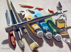 "Leigh-Anne Eagerton ""Art Supply"" Oil on canvas. A still life to do in class easily."