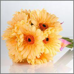 "Yellow Gerbera Daisy Wedding Bouquet | ""Simply Gerbera"" in Yellow | Bridal Bouquet of Gerbera Daisies"