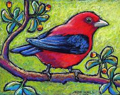 Original Bird Painting- Oil Pastel Painting of a Scarlet Tanager- Not a… Birds Painting, Elements Of Art, Oil Pastel Drawings, Pastel Painting, Original Fine Art, Oil Pastel Paintings, Bird Artwork, Art, Bird Art