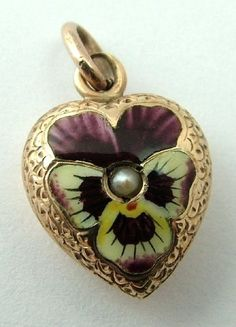 Violets and Pansies , Love ! / Victorian 15ct Gold Puffed Heart Charm with Enamel Pansy