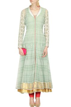 Mint green floral embroidered jacket anarkali with coral churidaar pants available only at Pernia's Pop Up Shop.