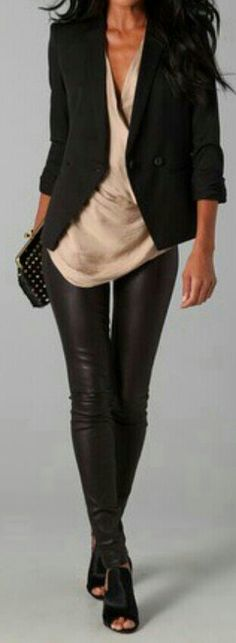 Blazer... tan shirt... leather leggings... perfection!