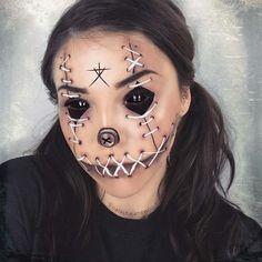 Blair Witch Voodoo Doll Makeup - Halloween Make-up Voodoo Doll Makeup, Witch Makeup, Scary Makeup, Creepy Doll Makeup, Doll Face Makeup, Premier Halloween, Horror Make-up, Halloween Makeup Looks, Halloween Pumpkin Makeup