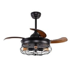 Belote Ceiling Fan with Lights, Industrial Cage Chandelier Fan, Retractable Blades, Remote Control, Black Caged Ceiling Fan, Black Ceiling Fan, Flush Mount Ceiling Fan, Bronze Ceiling Fan, Ceiling Fan With Remote, Antique Ceiling Fans, Industrial Ceiling Fan, Industrial Style, Hunter Ceiling Fans