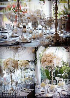 Idée centre table pour la table des mariés - roses et orchidée