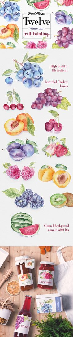 #Fruit #Watercolor #Illustrations on @creativemarket