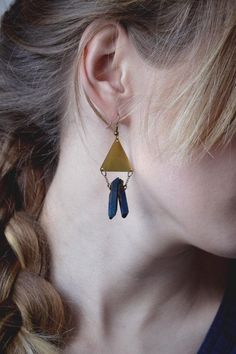 Blue quartz and brass were practically made for each other. #etsyjewelry