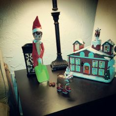 Elf on a shelf: scoopin the poop; elves have chores to do too