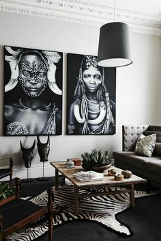 Stunning Black & White Living Room Decor Trends - nellwyn news African Living Rooms, African Bedroom, Black And White Living Room Decor, Black Room Decor, African Interior Design, African Home Decor, Style Deco, Cozy Living Rooms, Interiores Design