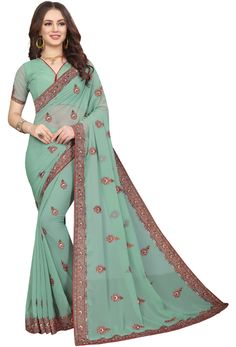 Shop pastel green georgette designer party wear saree , freeshipping all over the world , Item code Pakistani Party Wear Dresses, Party Wear Sarees, New Saree Designs, Blouse Designs, Georgette Sarees, Georgette Fabric, Embroidery Saree, Green Saree, Sari Fabric