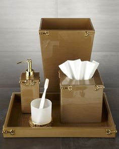 """WHY ARE THESE SO CUTE?! """"Hampton"""" Vanity Accessories by Mike & Alley at Horchow."""