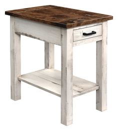 Amish Madison Contemporary Chair Side Table Solid wood with barn wood top. Available in numerous wood and finish options. #DutchCrafters