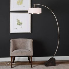 uttermost kelcher nickel arc floor lamp