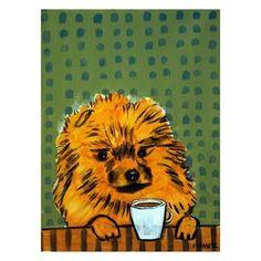 Pomeranian salon decor dog art tile coaster gift