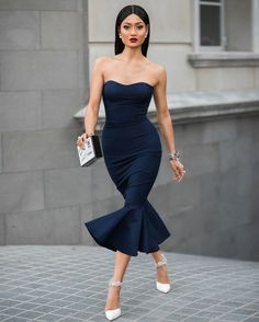 bodycon-mermaid-dress-with-ankle-strap-shoes