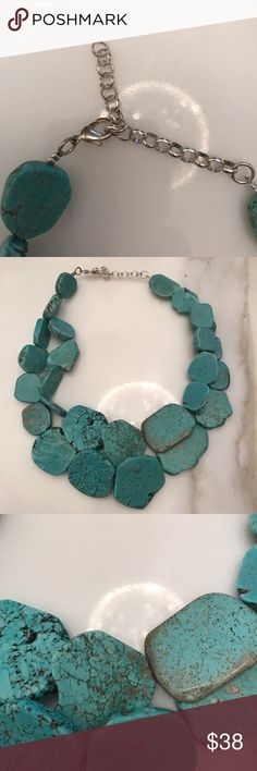Brand new turquoise stone necklace Brand new turquoise stone necklace with silver hook. Super cute with any outfit! Bundle and save! Price is firm unless bundled Jewelry Necklaces