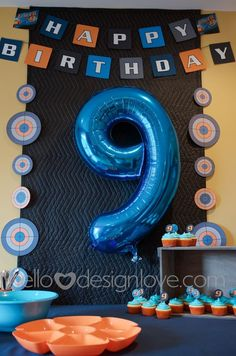 first birthday party ideas boys Nerf Birthday Party, Nerf Party, 10th Birthday, Birthday Party Decorations, Birthday Boys, Birthday Ideas, Nerf Cake, Party Supplies, Nerf Gun