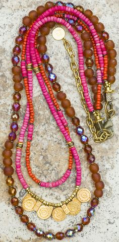 Custom Pink, Gold and Brown Long Glittery Necklace- beautiful colors...