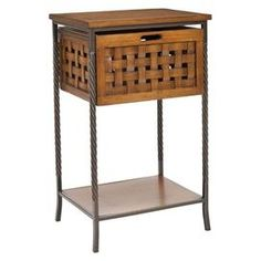 End Table With Woven Lattice Sides. Product: End Table Construction  Material: Wood And Steel Color: Honey Oak .