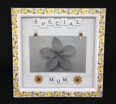 Special Mum scrabble photo frame, with sunflowers. Scrabble Letters, Mothers Day Presents, Sunflowers, Gift Guide, Hand Painted, Frame, Picture Frame, Frames, Sunflower Seeds