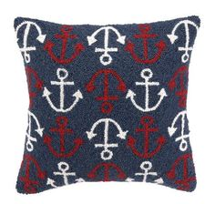 More red, white and blue details!  (with a hint of nautical) http://caronsbeachhouse.com/beach-house-pillows/nautical-style-pillows/anchors-squared-hooked-pillow.html